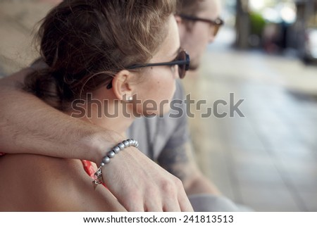 Portrait young couple in city location in modern style - stock photo