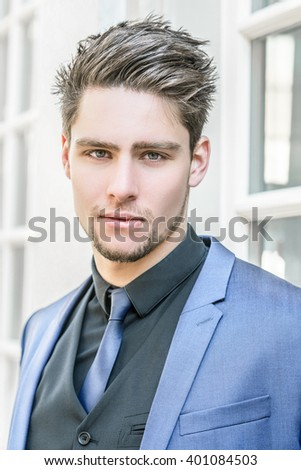 Portrait young elegant handsome businessman - Attractive male model in a suit  - stock photo