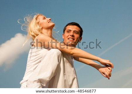 Portrait Young love Couple smiling - stock photo