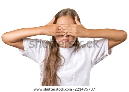 Portrait young teenager girl closing covering eyes with hands can't see hiding isolated white background. See no evil concept turning wrongful in good. Human emotion facial expression feeling reaction - stock photo