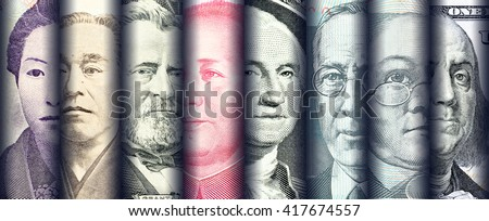 Portraits / images / faces of famous leader on banknotes, currencies of the most dominant countries in the world i.e. Japanese yen, US dollar, Chinese yuan, Australian dollar. Financial concept. - stock photo