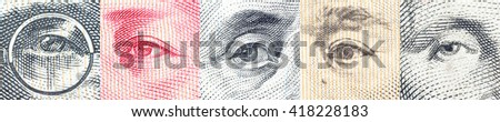 Portraits / images / the eyes of famous leader on banknotes, currencies of the most dominant countries in the world i.e. Japanese yen, US dollar, Chinese yuan, Australian dollar. Financial concept. - stock photo