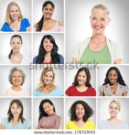 Portraits od Diverse World Women Smiling - stock photo