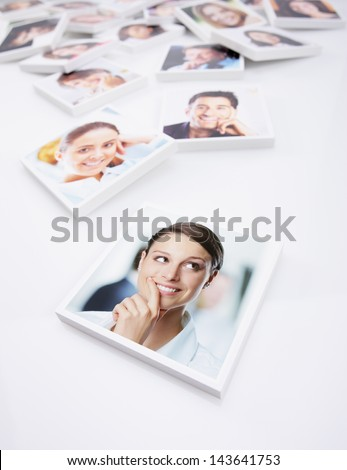 Portraits of a group of people, young business woman on foreground - stock photo
