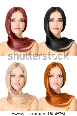 Portraits of beautiful woman with long hair, isolated on white - stock photo
