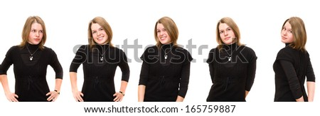 Portraits of expressing emotion young woman in black dress isolated on white background - stock photo