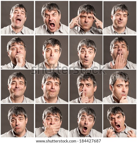 portraits of man with different expressions and gestures - stock photo