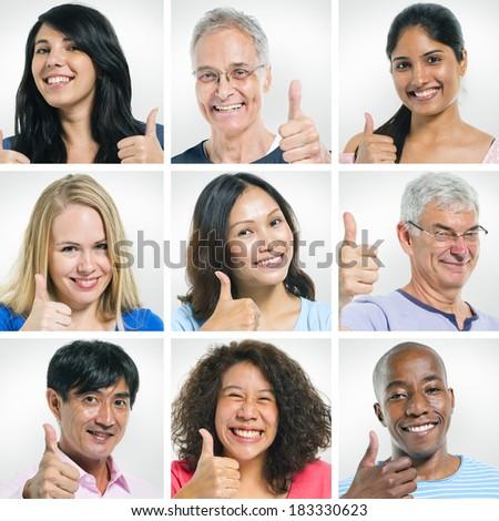 Portraits of Multi-Ethnic People Giving Thumbs Up - stock photo