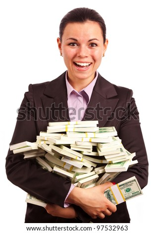 portreit of beautiful business woman with bundles of American dollars on white background - stock photo