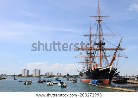 Portsmouth harbour, England  - stock photo