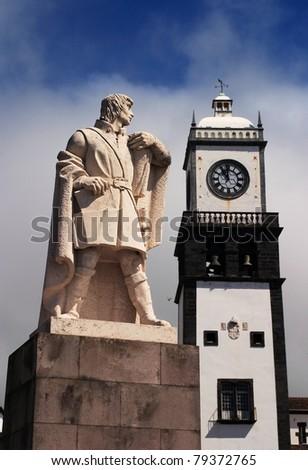 Portugal Azores Islands Sao Miguel Island historic center of Ponta Delgada the island's capital - stock photo