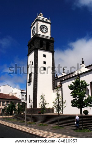 Portugal Azores Islands Sao Miguel Ponta Delgada Church - Igreja de Matriz de Sao Sebastiao - stock photo