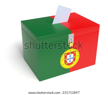 Portugal ballot box with Portuguese Flag. Isolated on white background. - stock photo