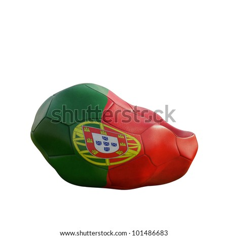 portugal deflated soccer ball isolated on white - stock photo