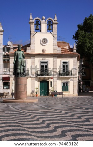 Portugal Lisbon's Sunshine Coast Cascais The historic town centre with typical Portuguese black and white mosaic stone paving - stock photo