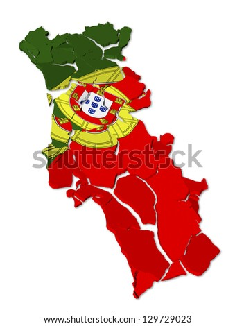 Portugal map cracked, conceptual representation of national crisis - stock photo