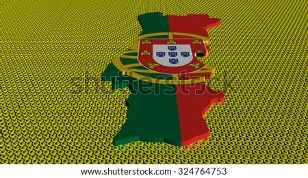 Portugal map flag on golden euros coins illustration - stock photo