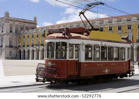 Portugal - Old touristic tramway in Lisbon - stock photo