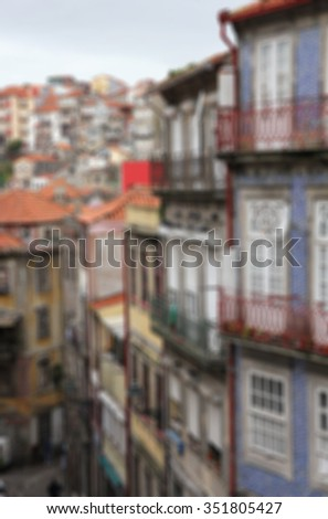 Portugal. Porto. Aerial view over the city. In blur style    - stock photo