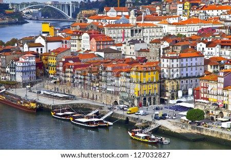 Portugal. Porto city. View of Douro river embankment - stock photo