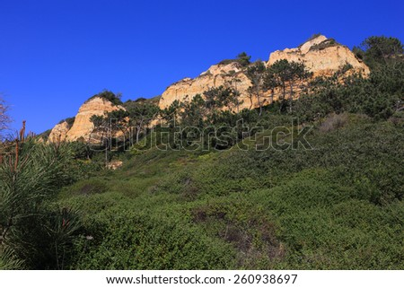 """Portugal, Setubal District, Costa da Caparica, Arriba Fossil Natural Park - """"Costa da Caparica Arriba Fossil Cliff Protected Landscape"""". Viewed from the coast.  - stock photo"""