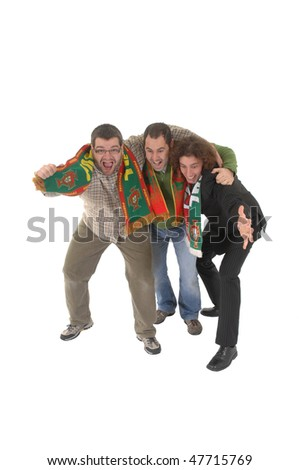 Portugal Soccer fans, isolated on white background - stock photo
