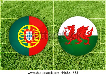 Portugal vs Wales icons at football field background - stock photo