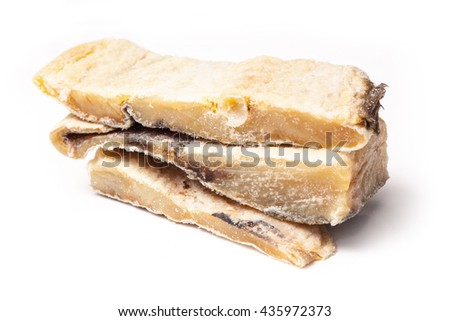Portugese Bacalhau ,salted codfish or salt cod isolated on a white studio background - stock photo