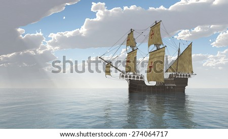 Portuguese Caravel of the Fifteenth Century Computer generated 3D illustration - stock photo