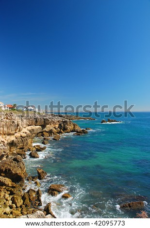 Portuguese coast line in Cascais - stock photo
