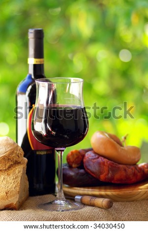 Portuguese wine and food. - stock photo