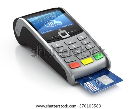 POS Terminal with credit card isolated on a white background - stock photo