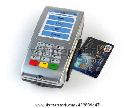 POS terminal with credit card isolated on white. 3d illustration Elements of this image furnished by NASA - stock photo