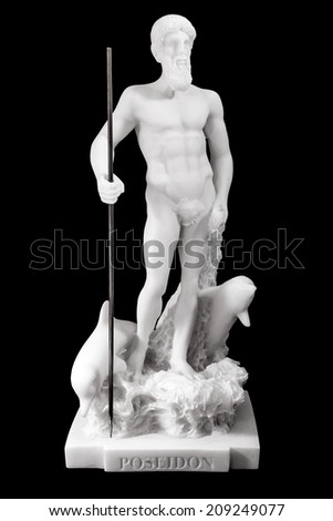 """Poseidon is one of the twelve Olympian deities of the pantheon in Greek mythology. His main domain is the ocean, and he is called the """"God of the Sea"""". Isolated on black background - stock photo"""