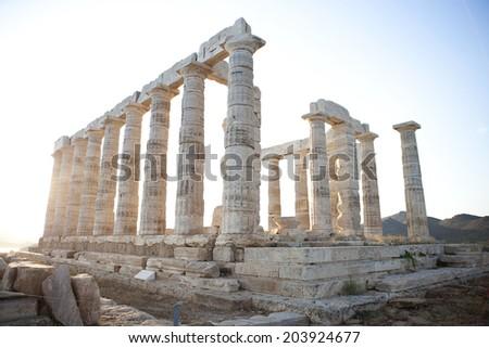 Poseidon temple at sounio, Athens - stock photo