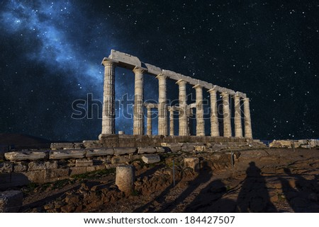 Poseidon Temple in Sounio , Greece  - stock photo