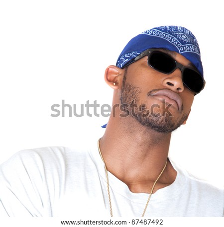 Posing African American man - stock photo