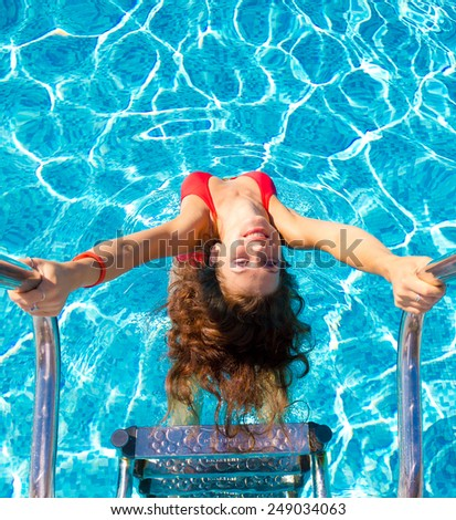 Posing Pool Portrait  - stock photo