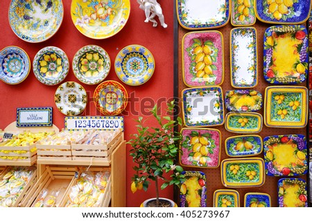 POSITANO, ITALY - MAY 28, 2015: Typical ceramics sold in beautiful town of Positano, Italy - stock photo