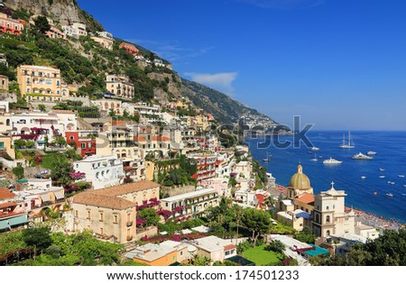 Positano Resort on the Amalfi Coast, Italy, Europe - stock photo