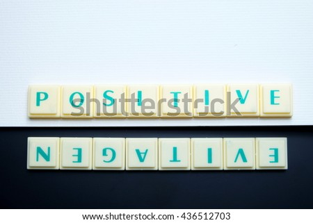 Positive and Negative concept. The words spelled by letters with drawing book on blackboard. Space for texts. Dark tone. - stock photo