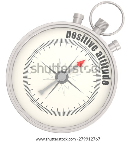 Positive attitude compass image with hi-res rendered artwork that could be used for any graphic design. - stock photo