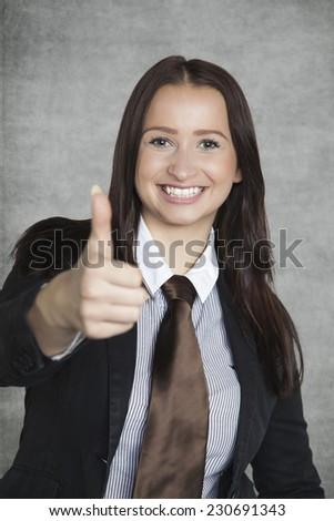 Positive business woman - stock photo