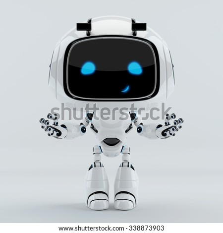 Positive cute smiling robot gesturing with hands up - stock photo
