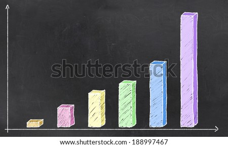 Positive Diagram on Blank Blackboard with Free Space for Writing - stock photo