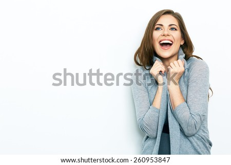 Positive emotion Business woman portrait  isolated on white background. Young toothy smiling woman. office worker. - stock photo