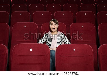 Positive emotions at the cinema - stock photo