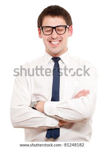 Positive man. Isoalated over white. - stock photo