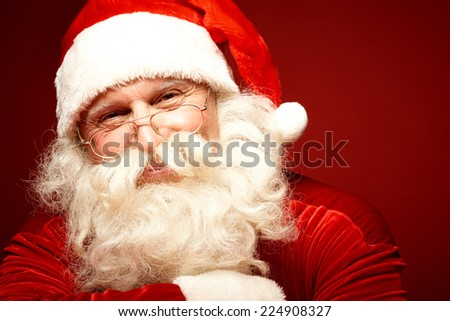 Positive Santa Claus in eyeglasses looking at camera with smile - stock photo