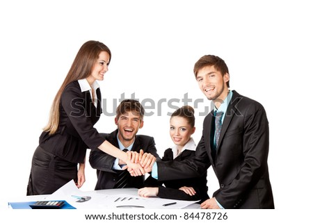 positive smile young business people handshake white background - stock photo
